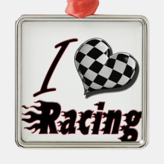 I Heart Racing #2 Silver-Colored Square Decoration