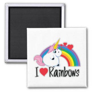 I Heart Rainbows Square Magnet