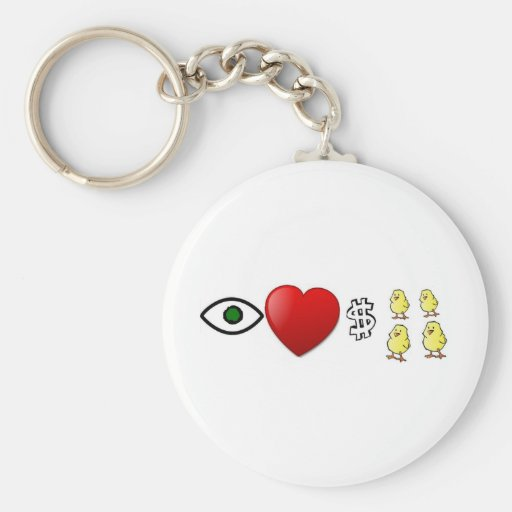 I Heart Rich Chicks Keychain