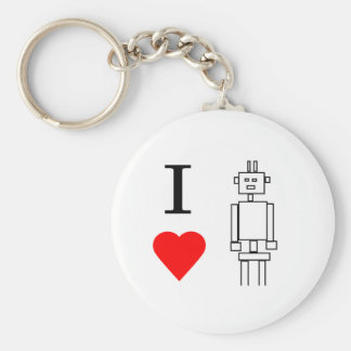 i heart robots basic round button key ring