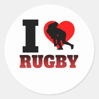 I Heart Rugby Round Sticker
