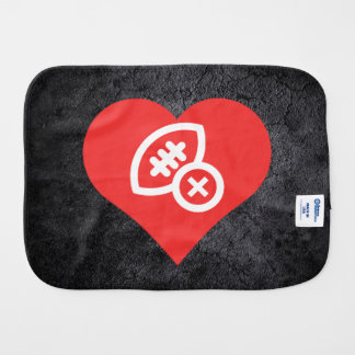 I Heart Rugby Rules Icon Baby Burp Cloth