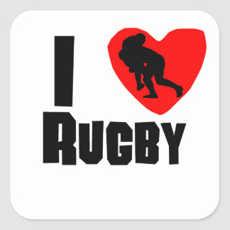 I Heart Rugby Square Sticker