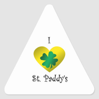 I heart Saint paddy's in green and gold Triangle Sticker