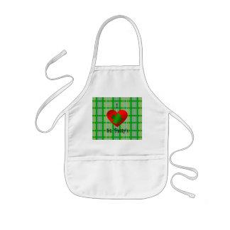 I heart saint patty's on gold green plaid kids apron