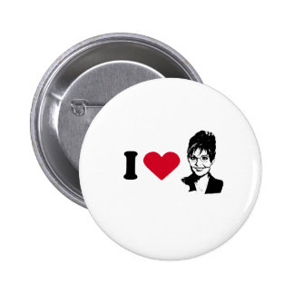 I HEART SARAH PALIN 6 CM ROUND BADGE