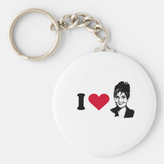 I HEART SARAH PALIN BASIC ROUND BUTTON KEY RING