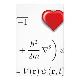 I heart Schrodinger equation Custom Stationery