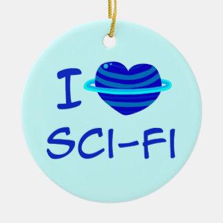 I Heart Sci-Fi Round Ceramic Decoration