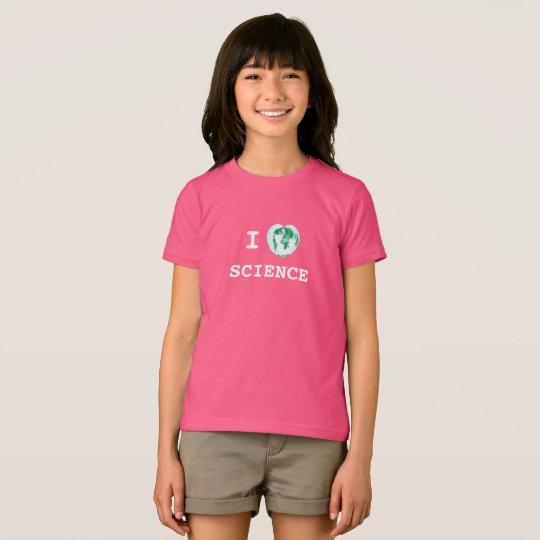 I Heart Science Girls T-Shirt World Map Watercolor