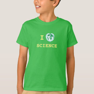I Heart Science Kids T-Shirt World Map Watercolor