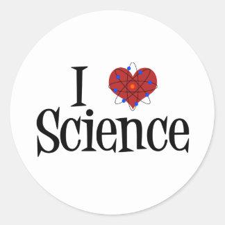 I Heart Science Round Sticker