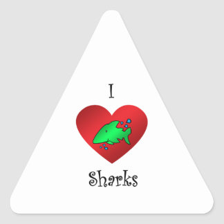 I heart sharks in green stickers