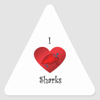 I heart sharks in red triangle stickers