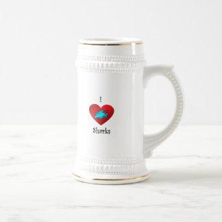 I heart sharks in teal mugs