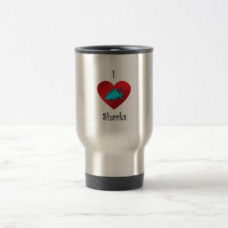 I heart sharks in teal coffee mug
