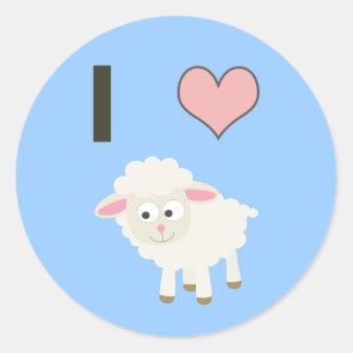 I heart Sheep Classic Round Sticker