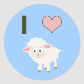 I heart Sheep Round Sticker