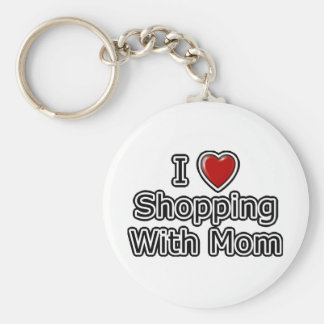 I Heart Shopping with Mom Basic Round Button Key Ring