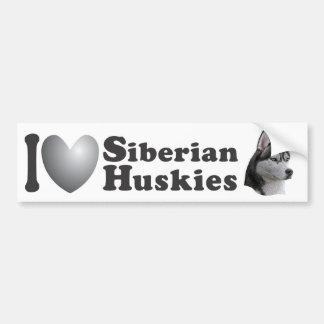 I Heart Siberian Huskies w/Stylized Image - Bumper Bumper Sticker