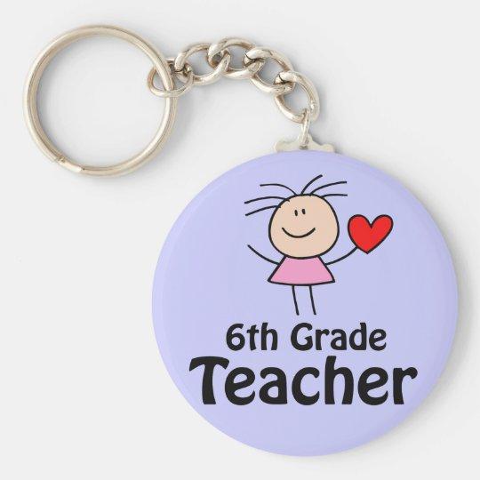 I Heart Sixth Grade Teacher Basic Round Button Key Ring