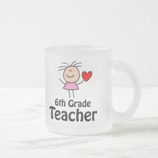 I Heart Sixth Grade Teacher Frosted Glass Coffee Mug