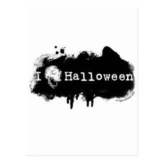 I (heart) skull Halloween Postcard