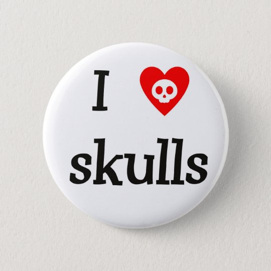 I heart Skulls Button