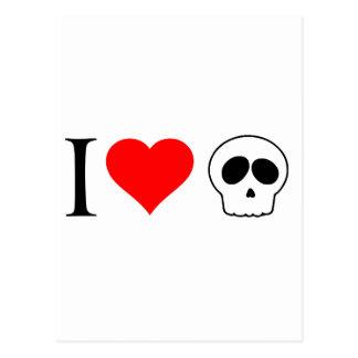 i heart skulls postcard