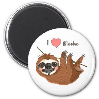 I Heart Sloths Baby Animal 6 Cm Round Magnet