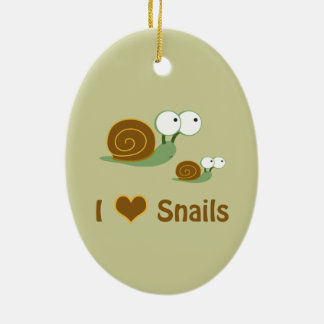 I Heart Snails- two cute snails Christmas Ornament