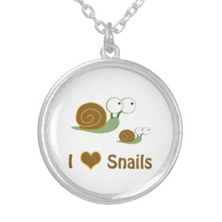 I Heart Snails- two cute snails Silver Plated Necklace