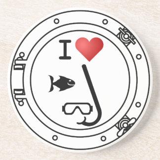 I Heart Snorkeling Drink Coaster