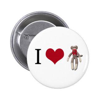 I Heart Sock Monkey 6 Cm Round Badge