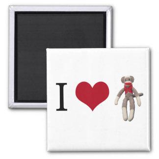 I Heart Sock Monkey Square Magnet