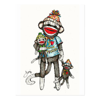 I Heart Sock Monkeys Postcard