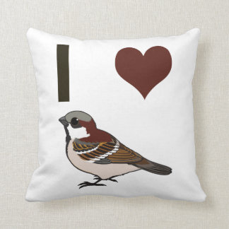 I heart sparrows throw pillow
