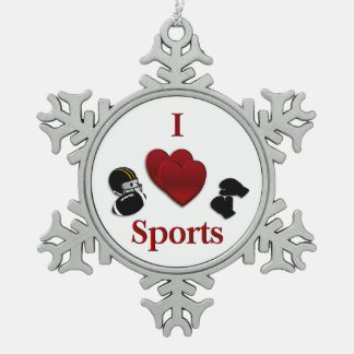 I Heart Sports Pewter Snowflake Ornament