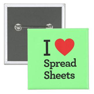 I Heart Spread Sheets 15 Cm Square Badge
