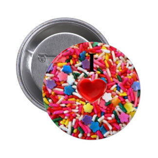 I Heart Sprinkles / I Love Sprinkles Button 2 Inch Round Button