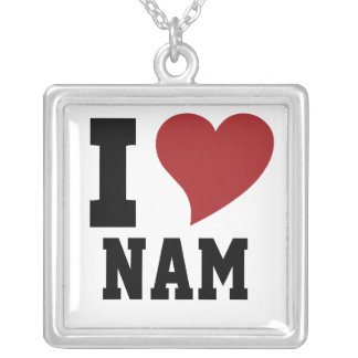 I Heart Square Pendant Necklace