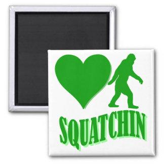 I heart squatchin square magnet