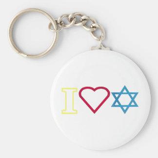 I Heart Star of David Basic Round Button Key Ring