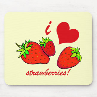 I heart strawberries mouse pad