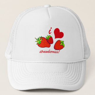 I heart strawberries trucker hat