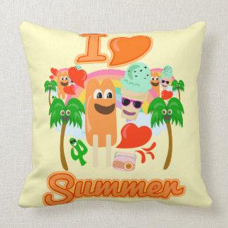 I Heart Summer Fun Throw Pillow