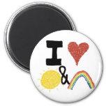 I Heart Sunshines And Rainbows 6 Cm Round Magnet