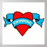 I heart swimming tattoo