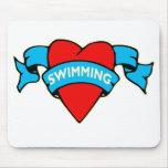 I heart swimming tattoo mousemats