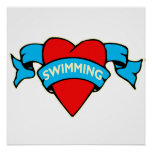 I heart swimming tattoo print